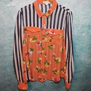 ⭐BOGO FREE! Floral striped semi-sheer blouse sz L